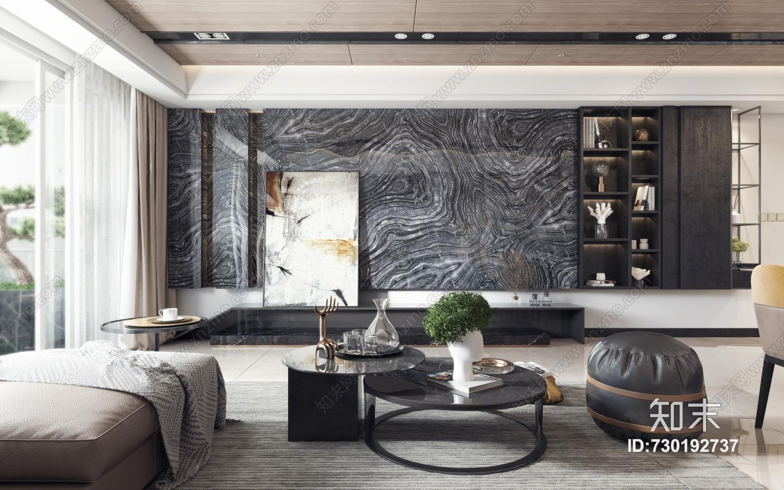现代客厅 沙发茶几 电视柜 挂画 吊灯 餐桌椅
