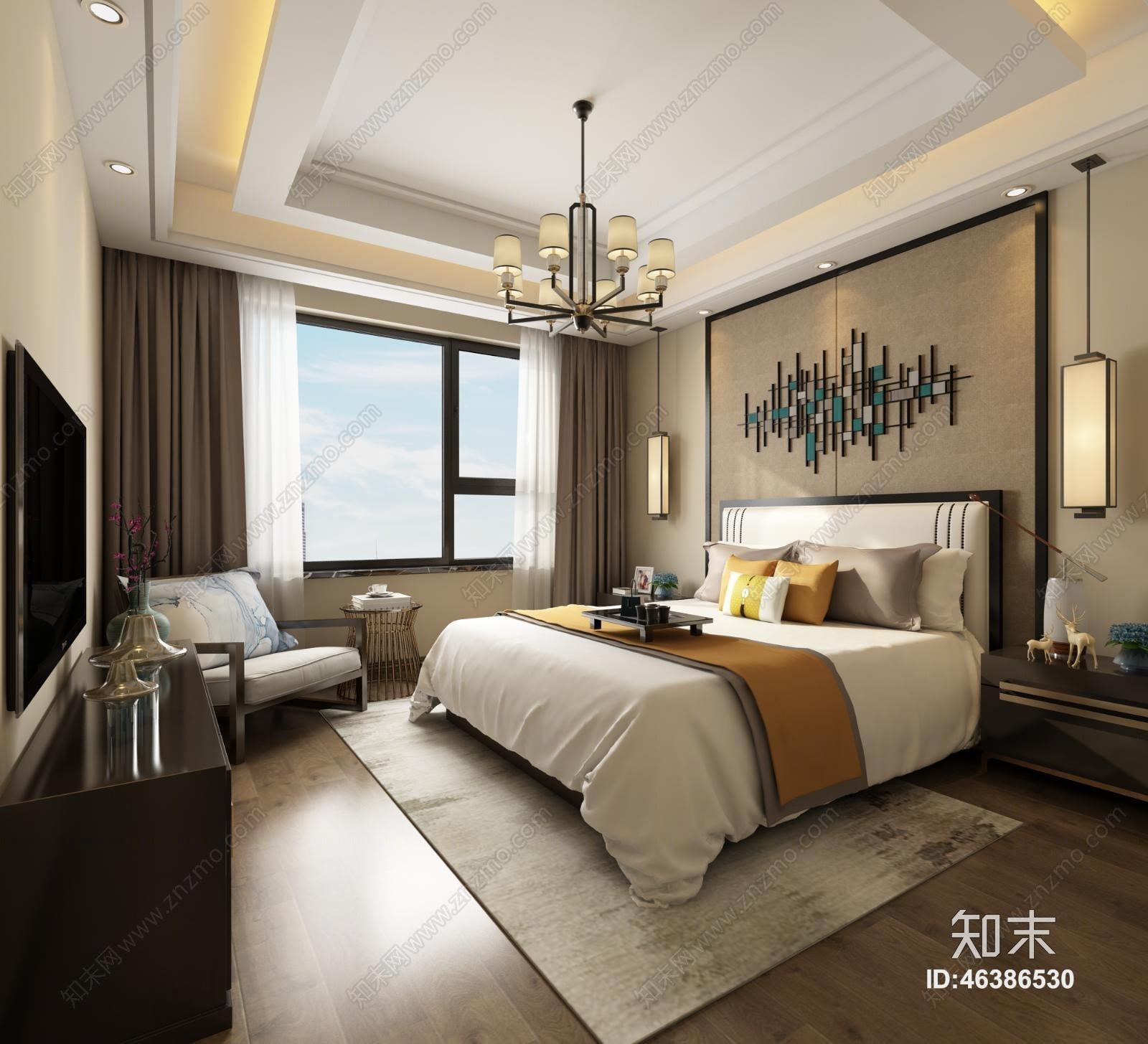 新中式主卧室 吊灯 壁灯 装饰柜 装饰物 沙发图片