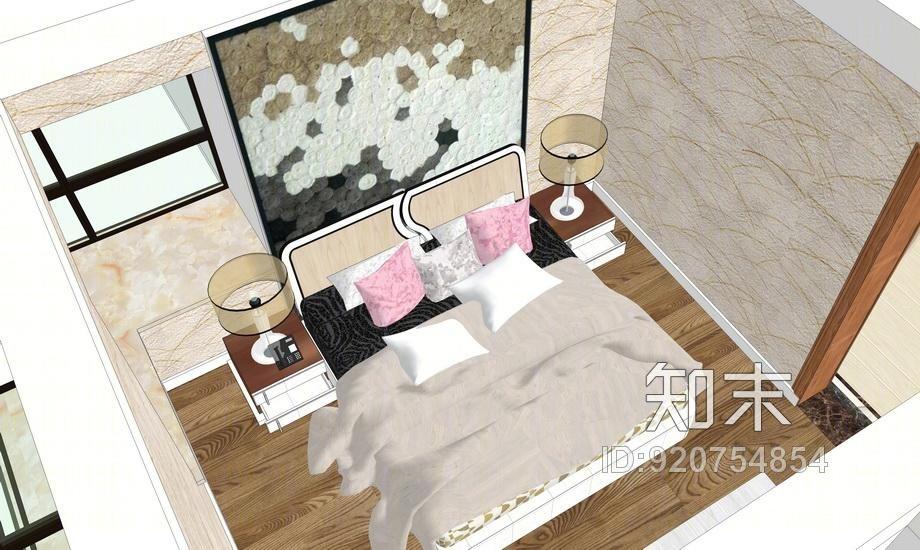 现代风格三房两厅室内设计SU模型