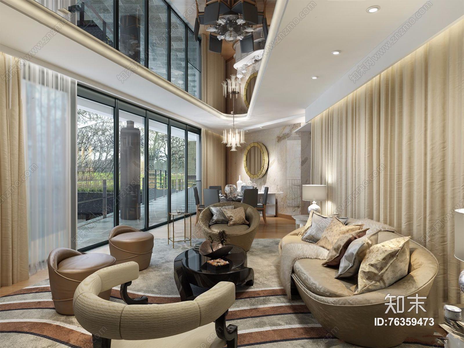 现代客餐厅 现代客厅 多人沙发 茶几 餐桌椅 吊灯 台灯 边几 休闲椅 窗帘 地毯