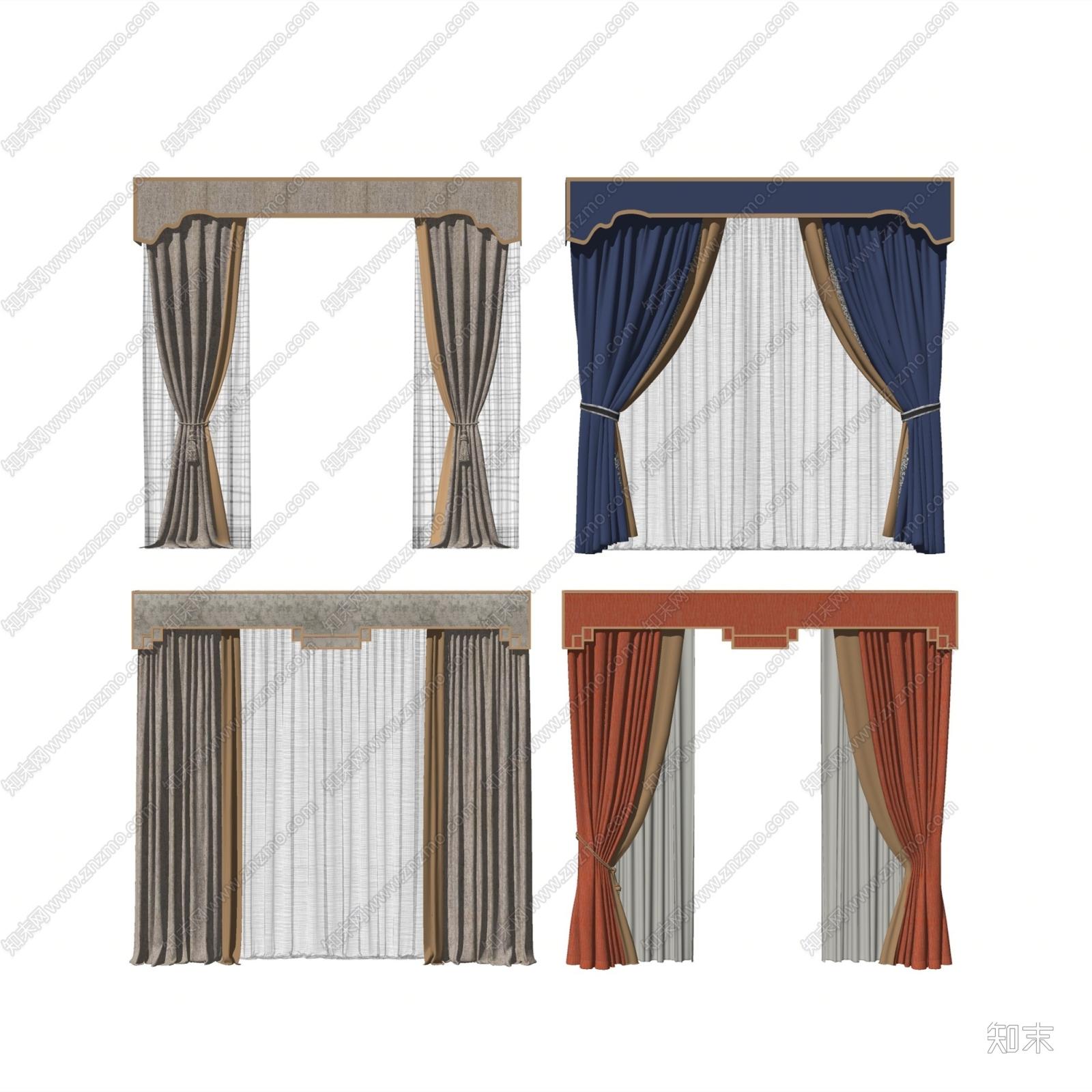 新中式布艺窗帘SU模型下载【ID:156702107】