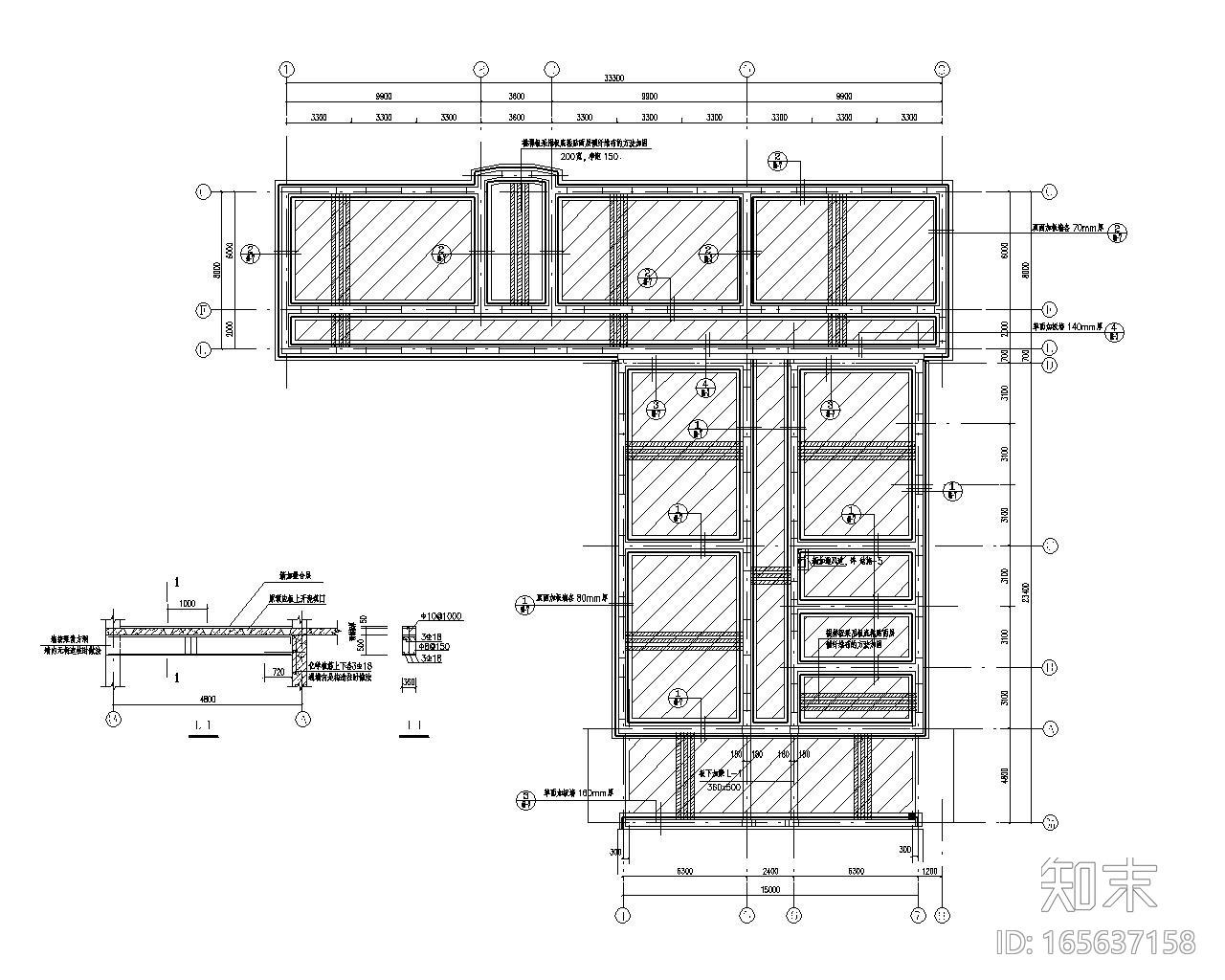六层教学楼双面板墙加固施工图(CAD)施工图下载【ID:165637158】