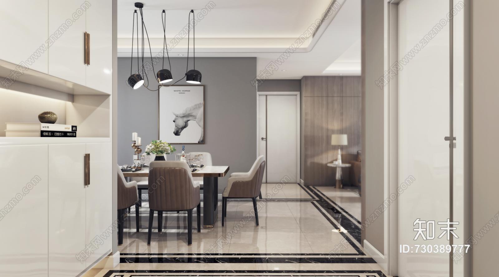 现代客餐厅 沙发茶几 吊灯 挂画 餐桌椅