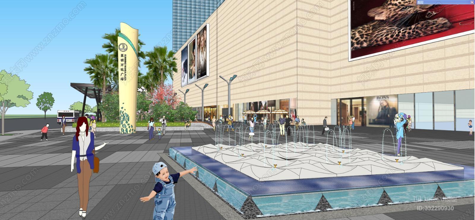 现代商业广场建筑 室外 街道 街景 泳池