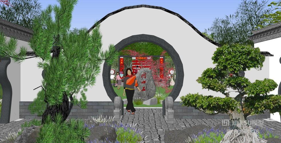 中式公园戏台景观设计su模型