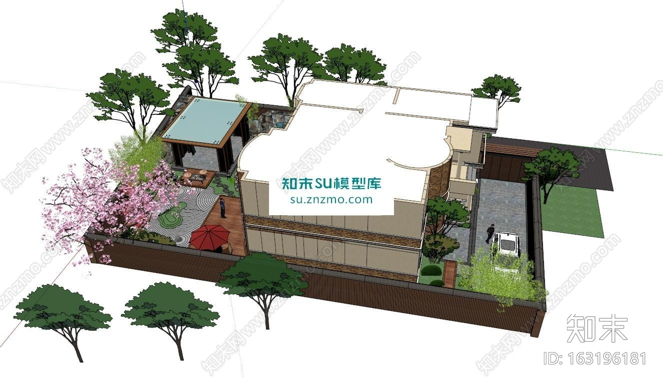 日式庭院景观户外建筑SU模型下载【ID:163196181】