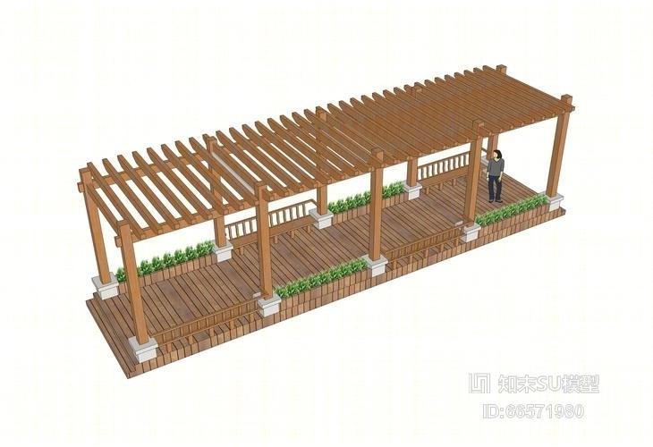 木廊架su模型