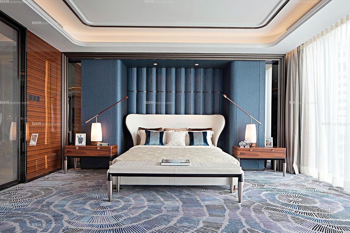 现代家居卧室 现代木艺床头灯 现代米色布艺双人床