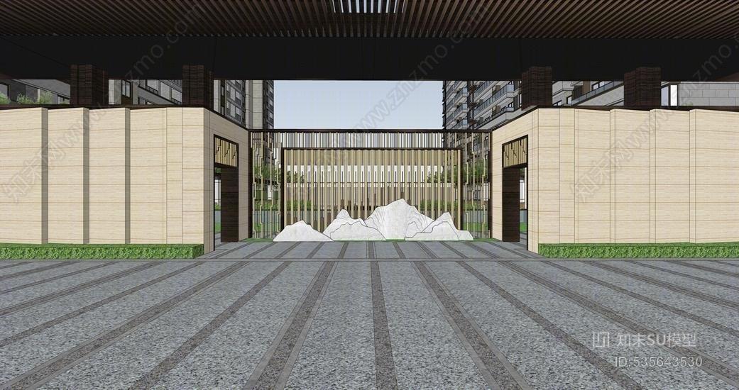 中式售楼部景观SU模型SU模型下载【ID:535643530】
