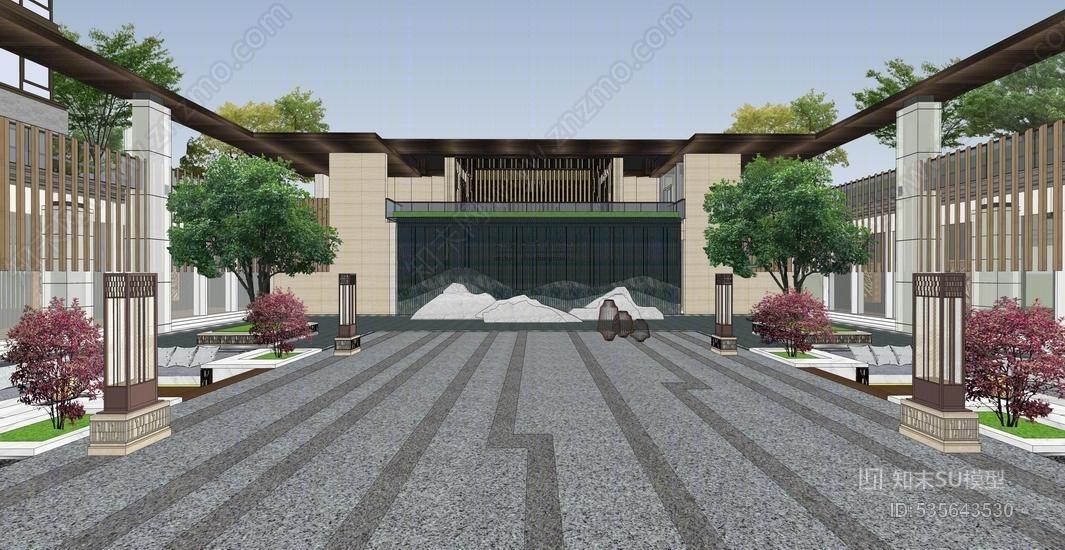 中式售楼部景观SU模型