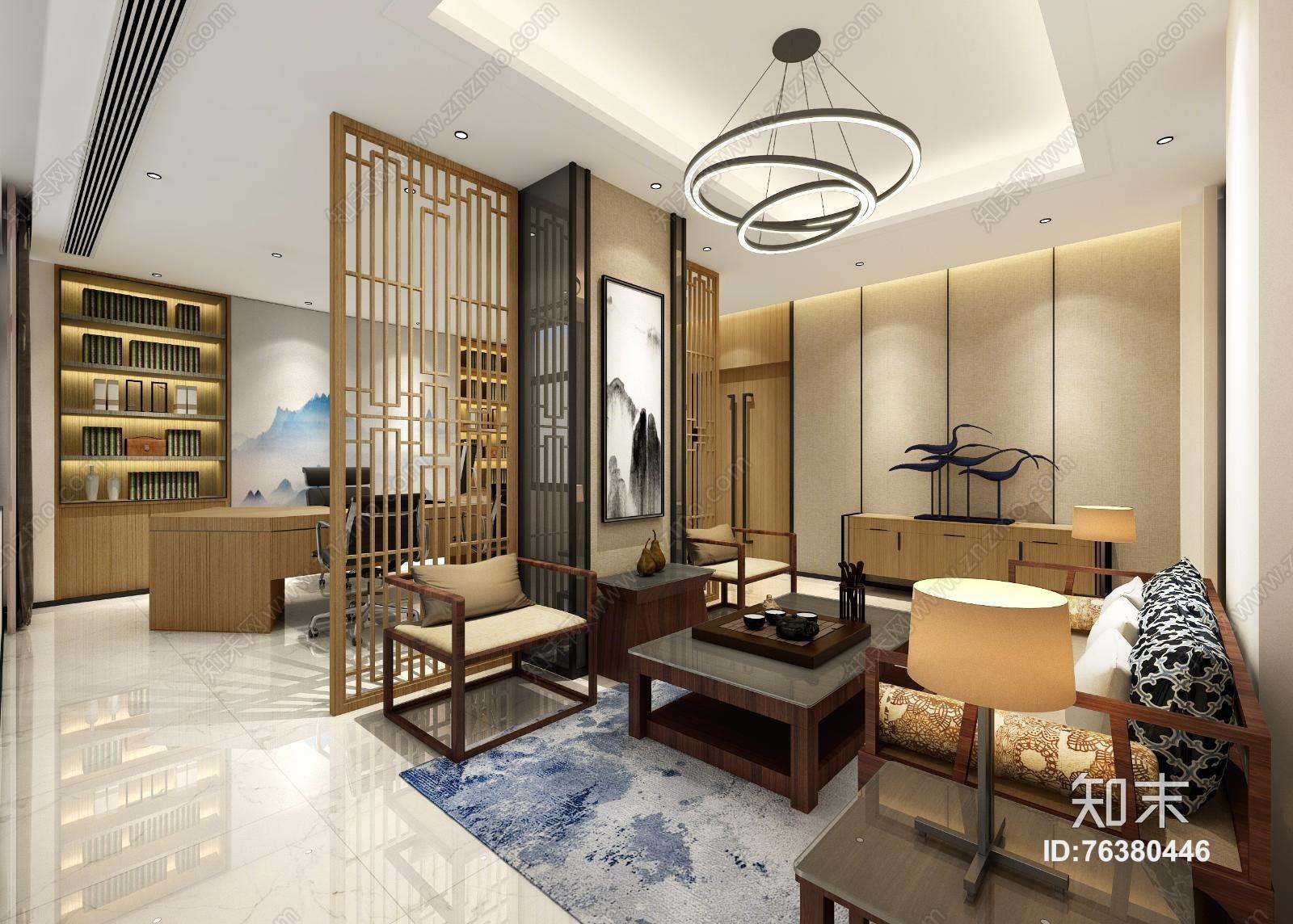 新中式董事长办公室 吊灯 屏帐 单双人沙发 茶几 装饰柜 摆件 书架