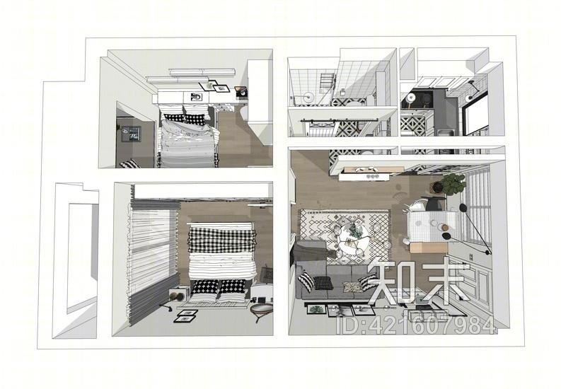 北欧风格两房两厅室内设计SU模型