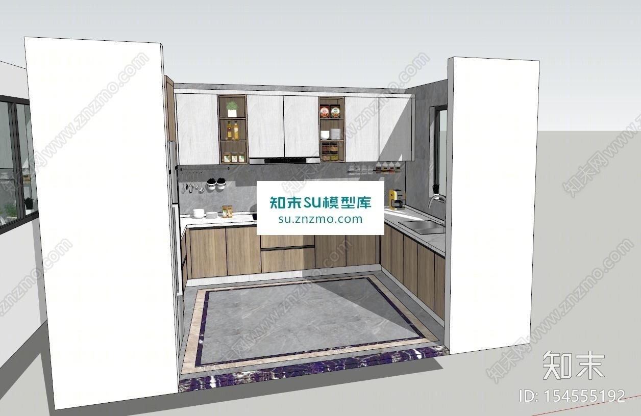 北欧现代风格厨房SU模型下载【ID:154555192】