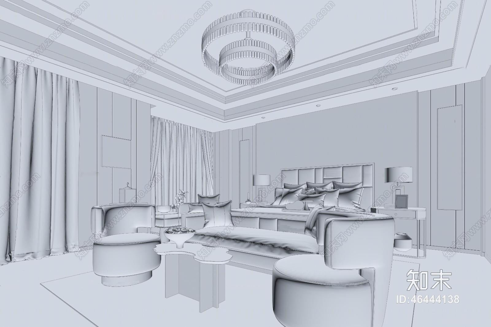新中式卧室 吊灯 台灯 单双人沙发 茶几 挂画 壁画