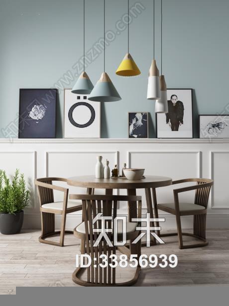 北欧 餐桌餐椅 北欧餐厅 餐桌椅 挂画 吊灯