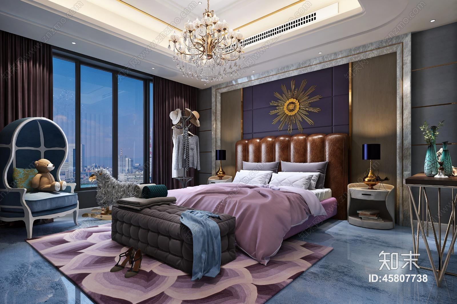 欧式简约紫色调主卧 双人床床头柜组合 单人沙发 吊灯3d模型下载【id图片