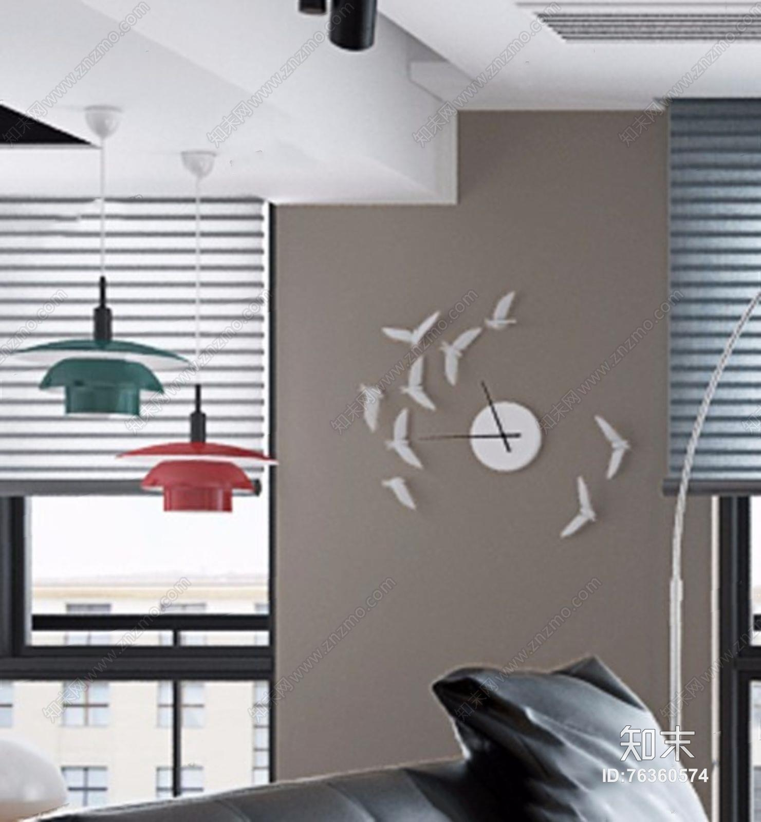 瓦第设计现代客餐厅 现代客厅 多人沙发 圆茶几 休闲沙发 沙发凳 餐桌椅 落地灯 绿植 瓦第设计
