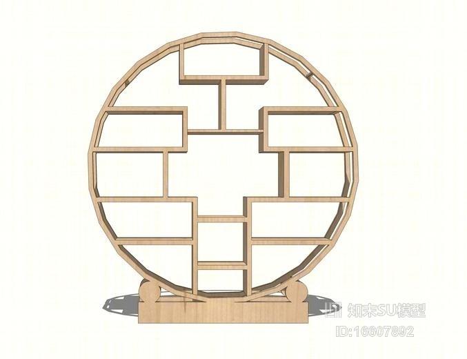 新中式屏风su模型