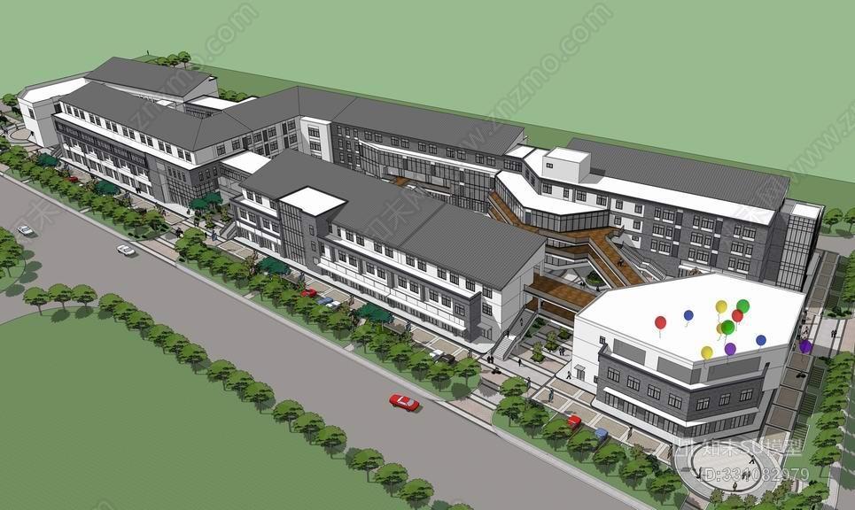 邻里中心新中式商业街SU模型