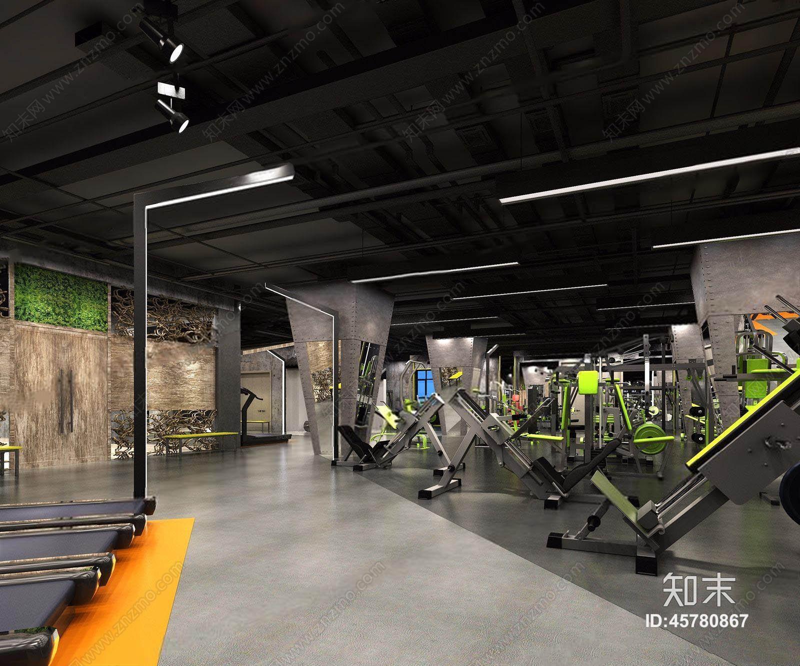 场健身器材_工业风健身房 健身馆 力量区 有氧区 运动器材 器械 跑步机 健身器材