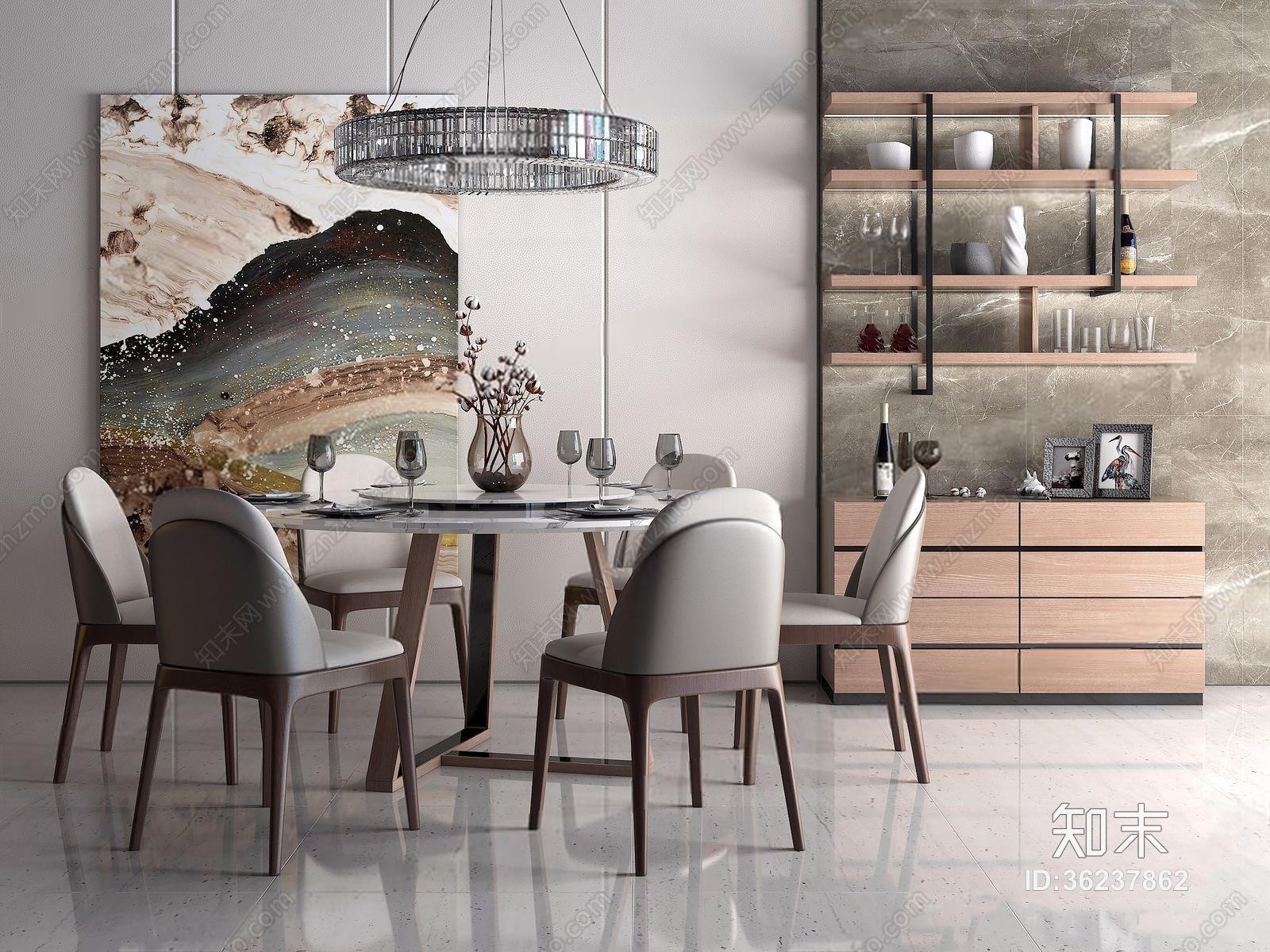 现代餐桌椅装饰柜组合 现代桌椅组合 餐边柜 水晶吊灯 挂画 摆件 餐具 圆餐桌 转盘餐桌 椅子 餐桌椅组合