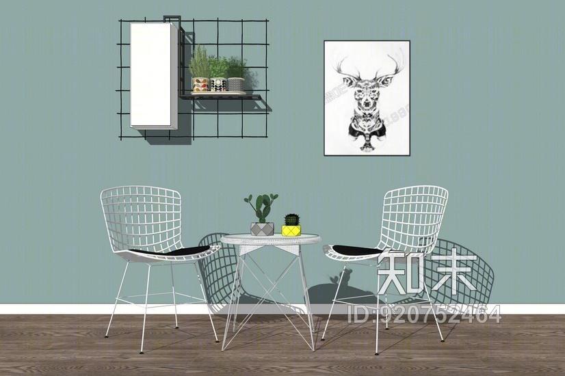 现代休闲桌椅组合SU模型