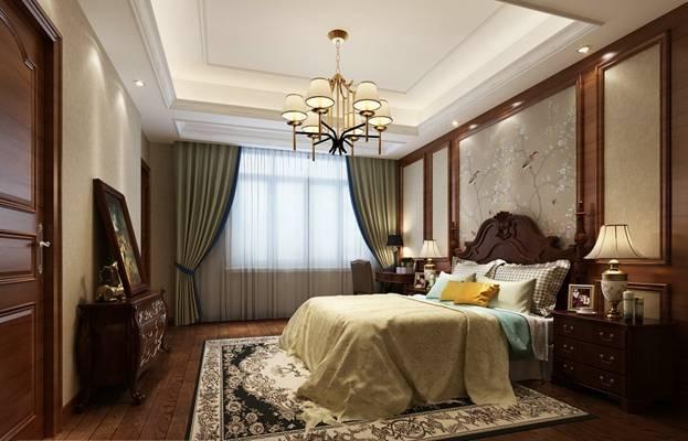 美式田园家居主卧室 长方形双人床 吊灯 木艺装饰柜