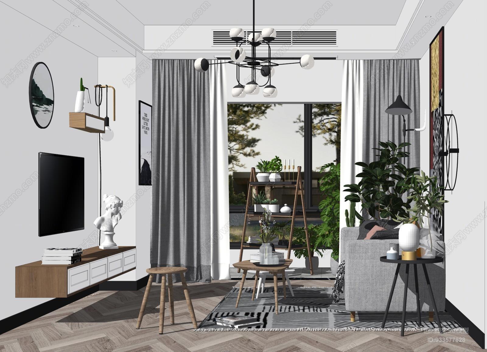 现代北欧客厅沙发置物架吊灯植物SU模型