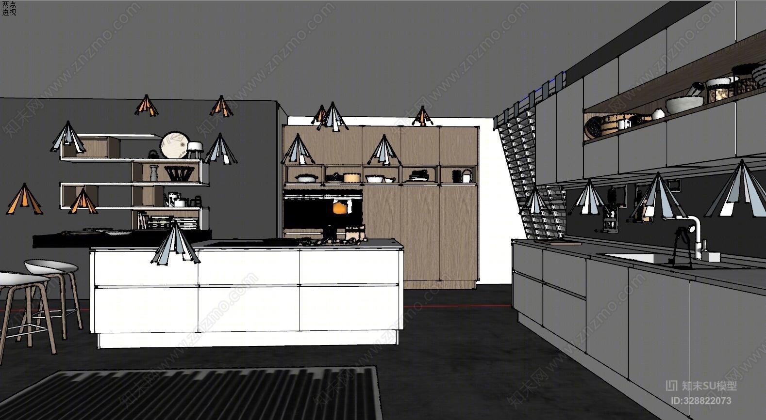 白色极简现代开放式厨房