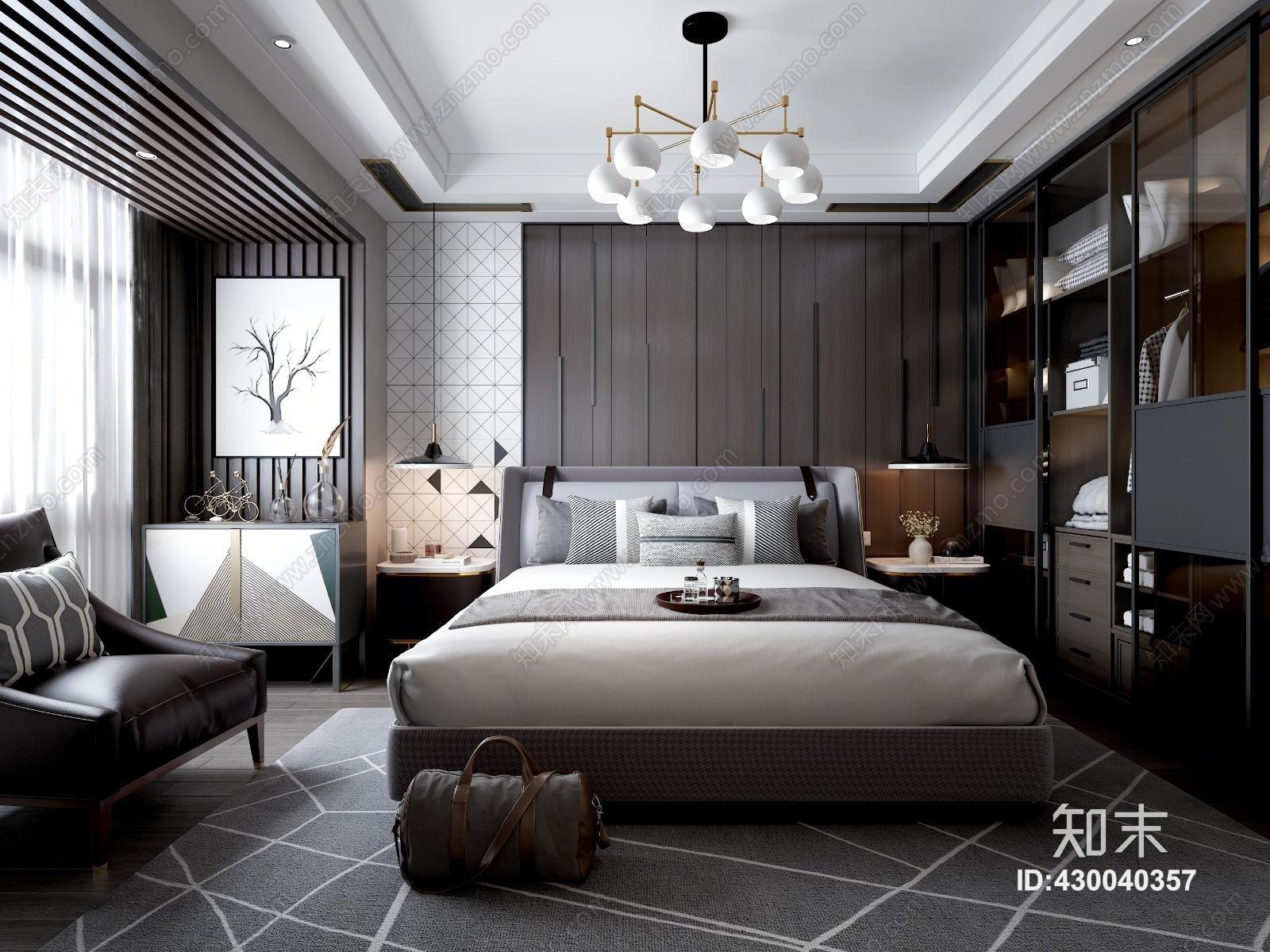 现代后现代主卧室 床 床头柜 吊灯 挂画