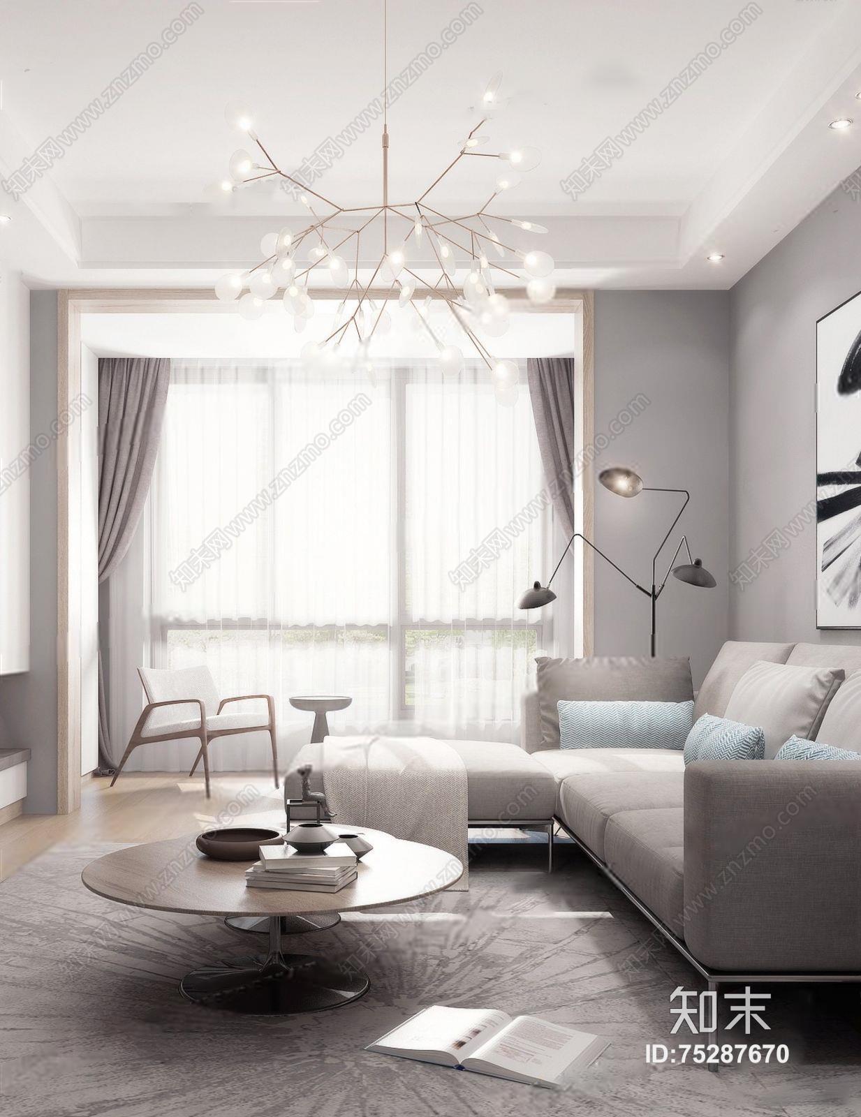 北欧黑白灰客厅 北欧客厅 l多人沙发 ?#23478;?#27801;发 吊灯 圆餐桌 电视背景