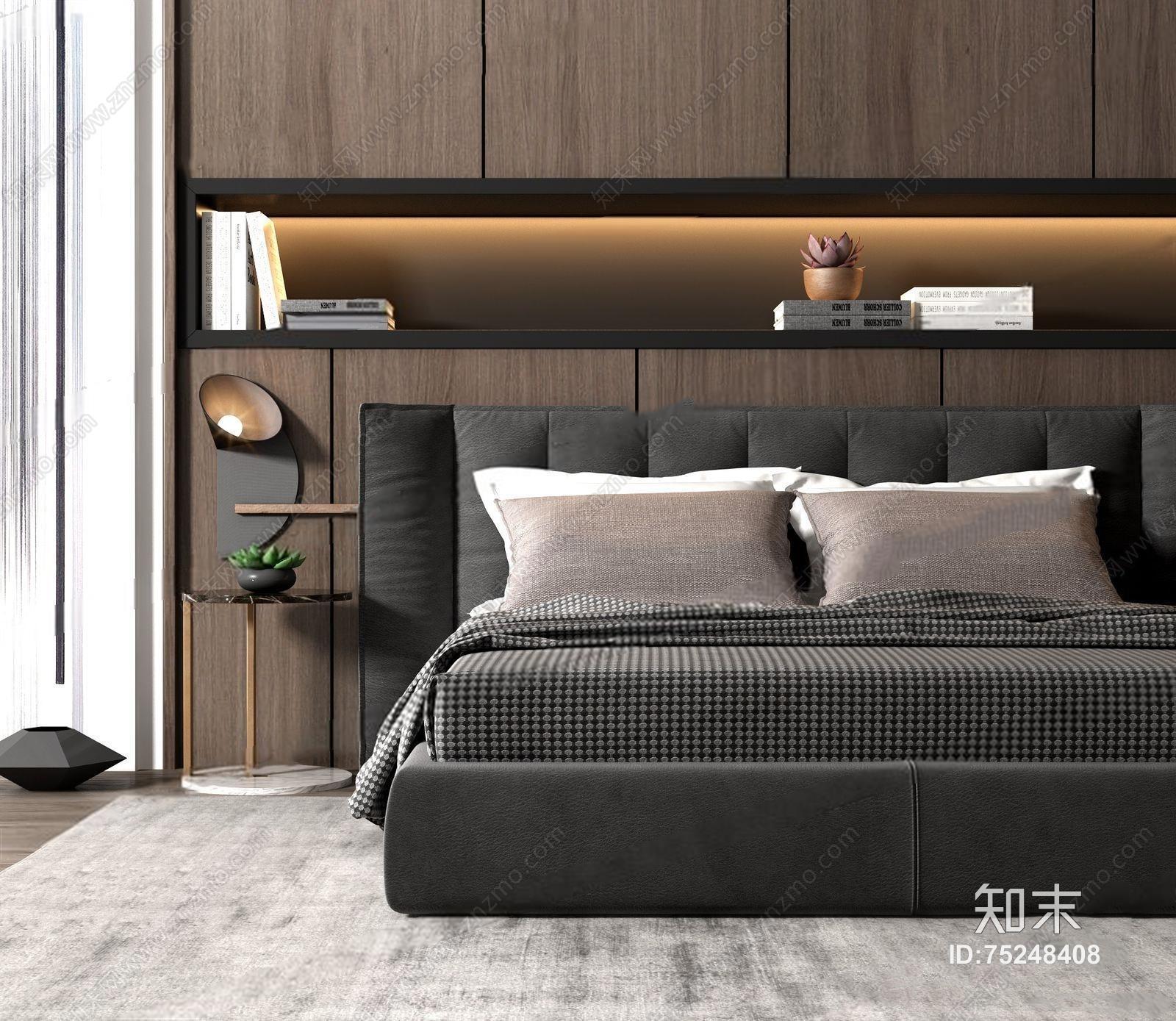 现代床具 现代双人床 床具 角几 床头灯 壁灯 床品 背景墙