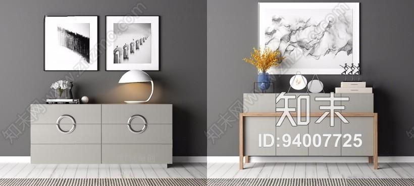 现代装饰柜组合 现代装饰柜 边柜 装饰画 台灯 摆件