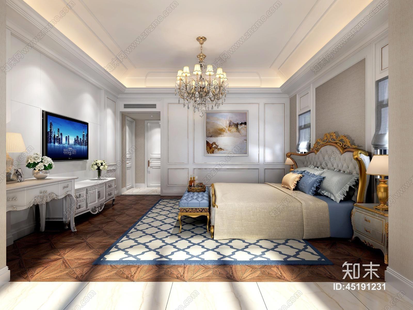 欧式简约主卧室 双人床 床尾凳 吊灯 挂画 台灯 床头柜