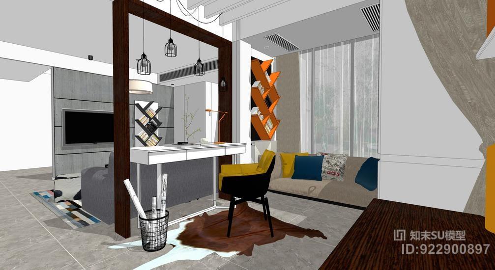 北欧风格客厅室内设计SU模型