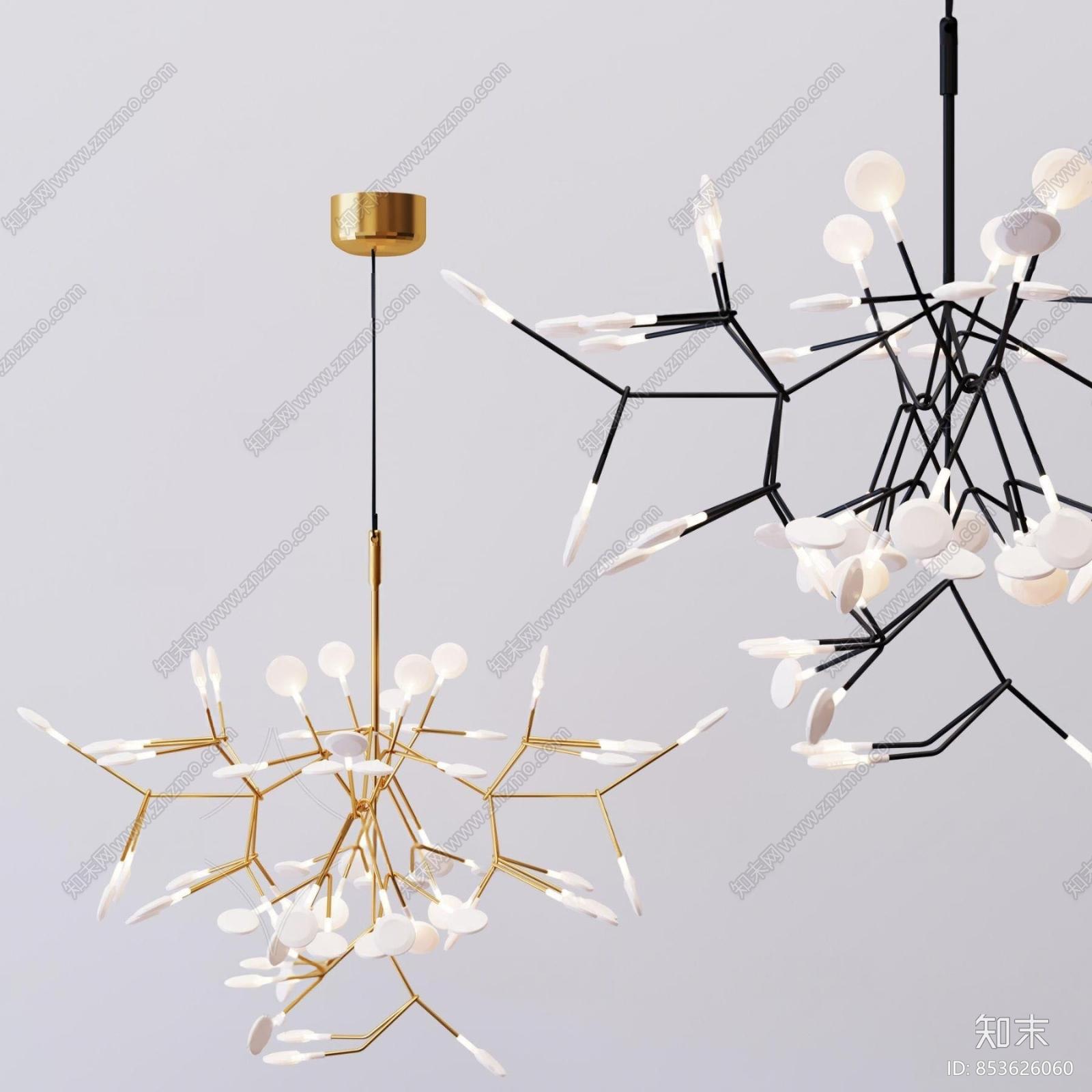 北欧金属吊灯3d模型