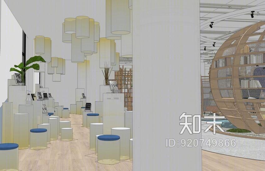 主题书吧室内设计SU模型