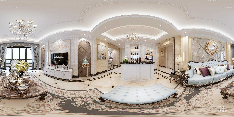 欧式风格客餐厅 吊灯 台灯 单双人沙发 茶几 装饰柜 陈设摆件 酒柜 吧