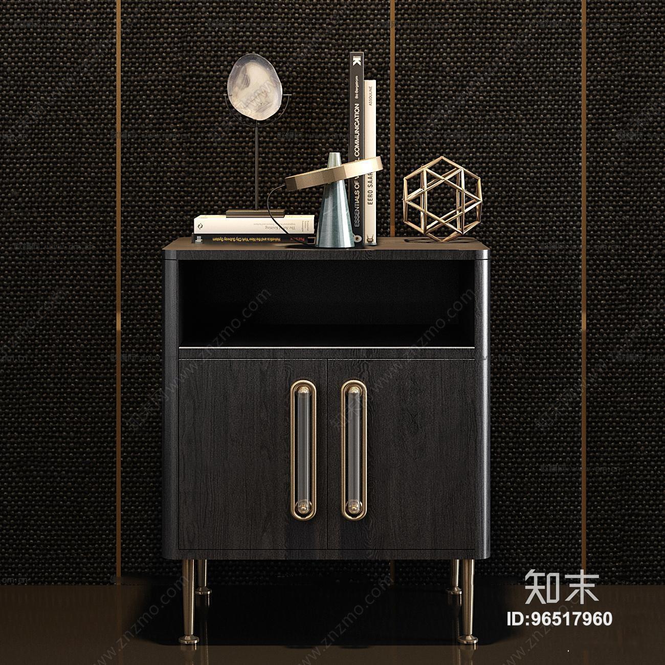 现代实木床头柜饰品组合3D模型