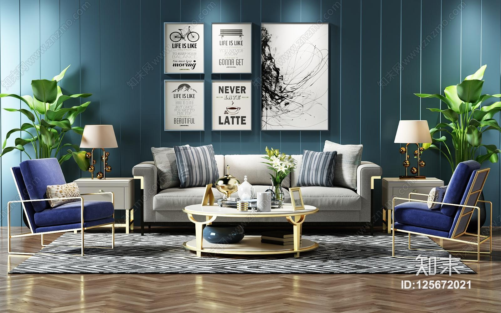 现代沙发茶几组合 沙发椅 盆景 挂画