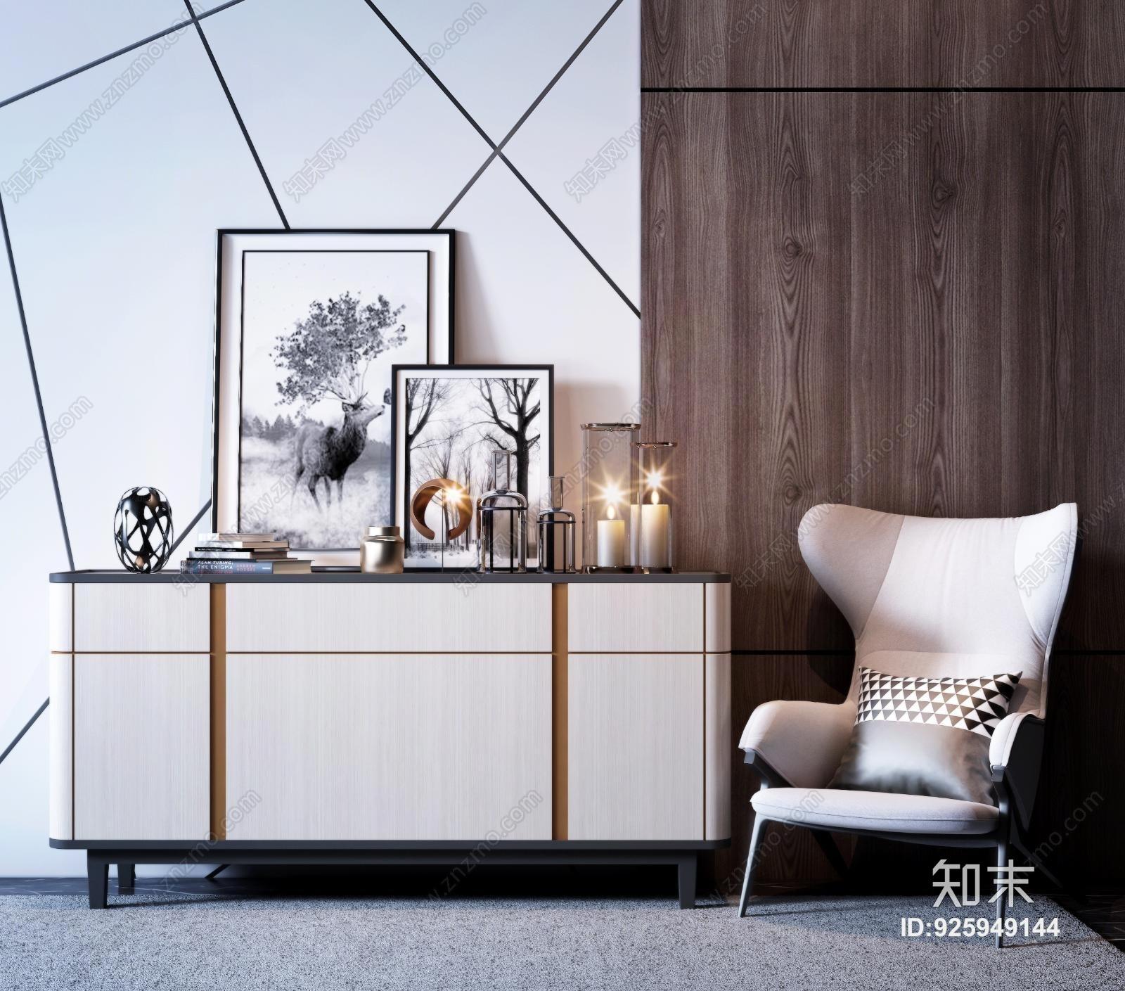 现代玄关柜 边柜 装饰柜 凳子 挂画 装饰品