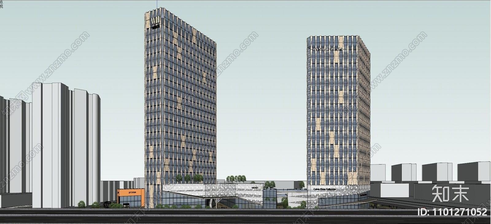 现代高层办公楼SU模型下载【ID:1101271052】