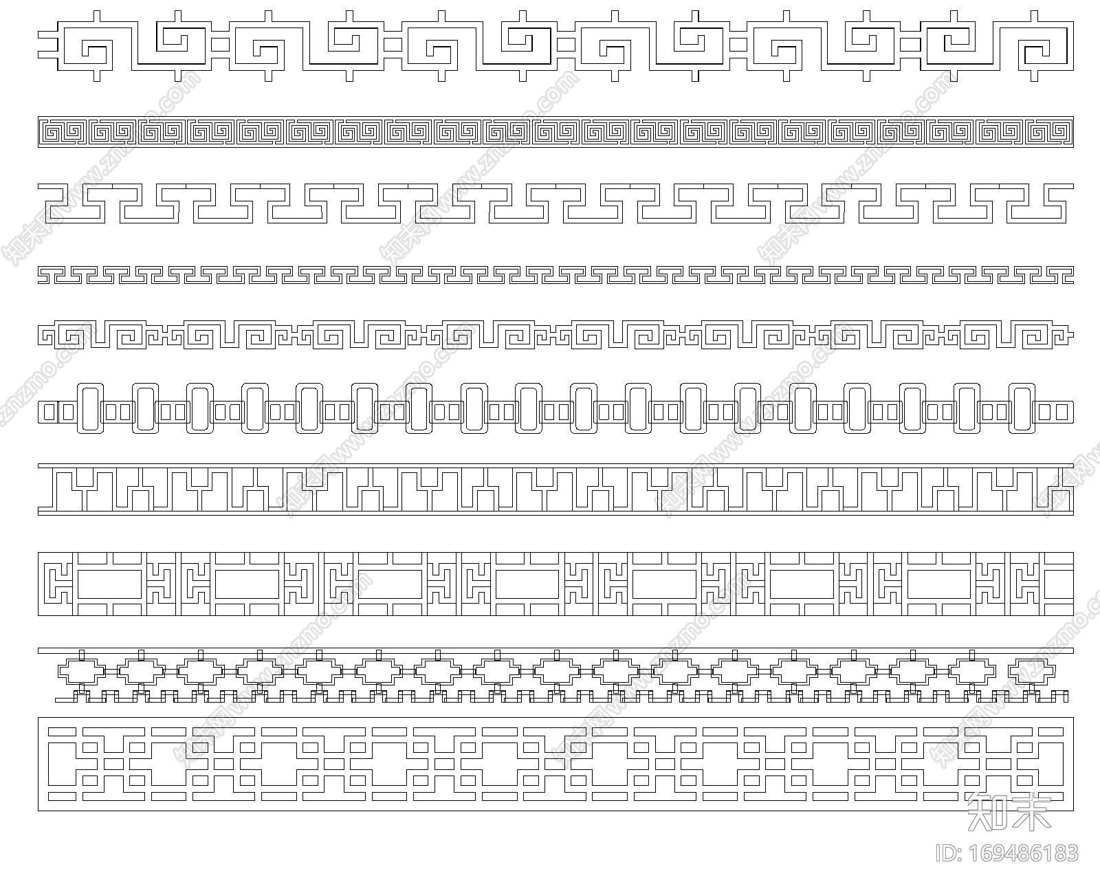 中式雕花隔断施工图下载【ID:169486183】