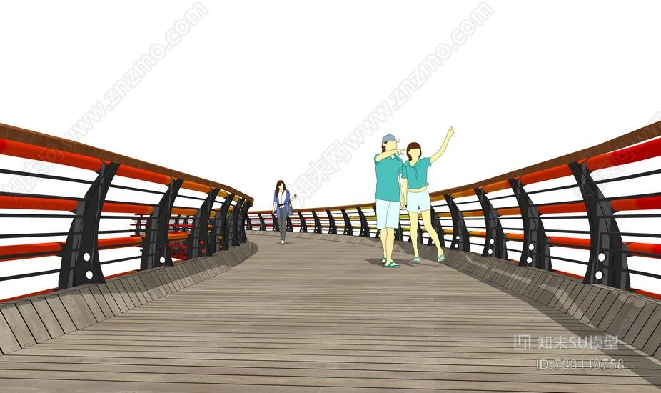 景观桥SU模型