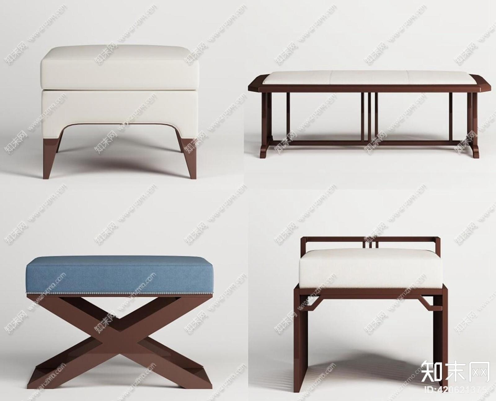 新中式实木布艺沙发凳组合3D模型3D模型下载【ID:420621375】