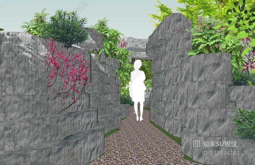 岩石园景观SU模型