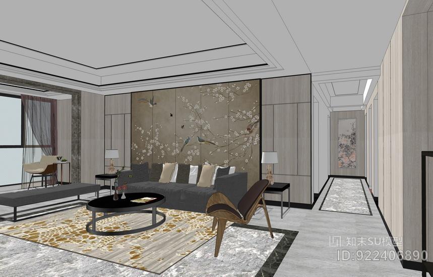新中式客厅餐厅茶室室内设计SU模型