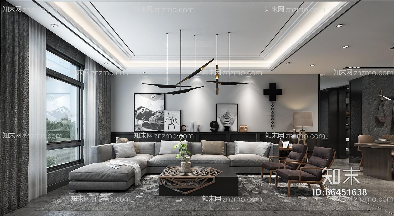 现代客厅餐厅 吊灯 台灯 单双人沙发 茶几 装饰柜 陈设摆件 餐桌椅 挂画 酒柜