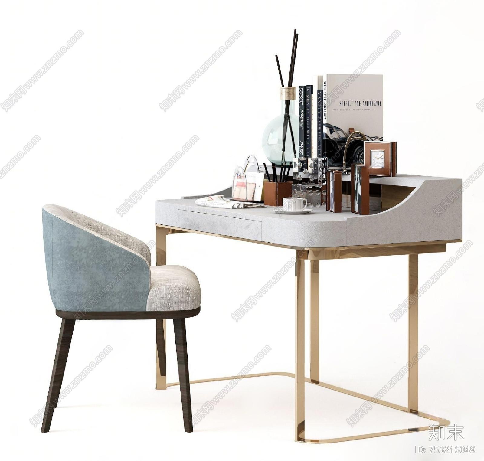 现代轻奢梳妆台3d模型