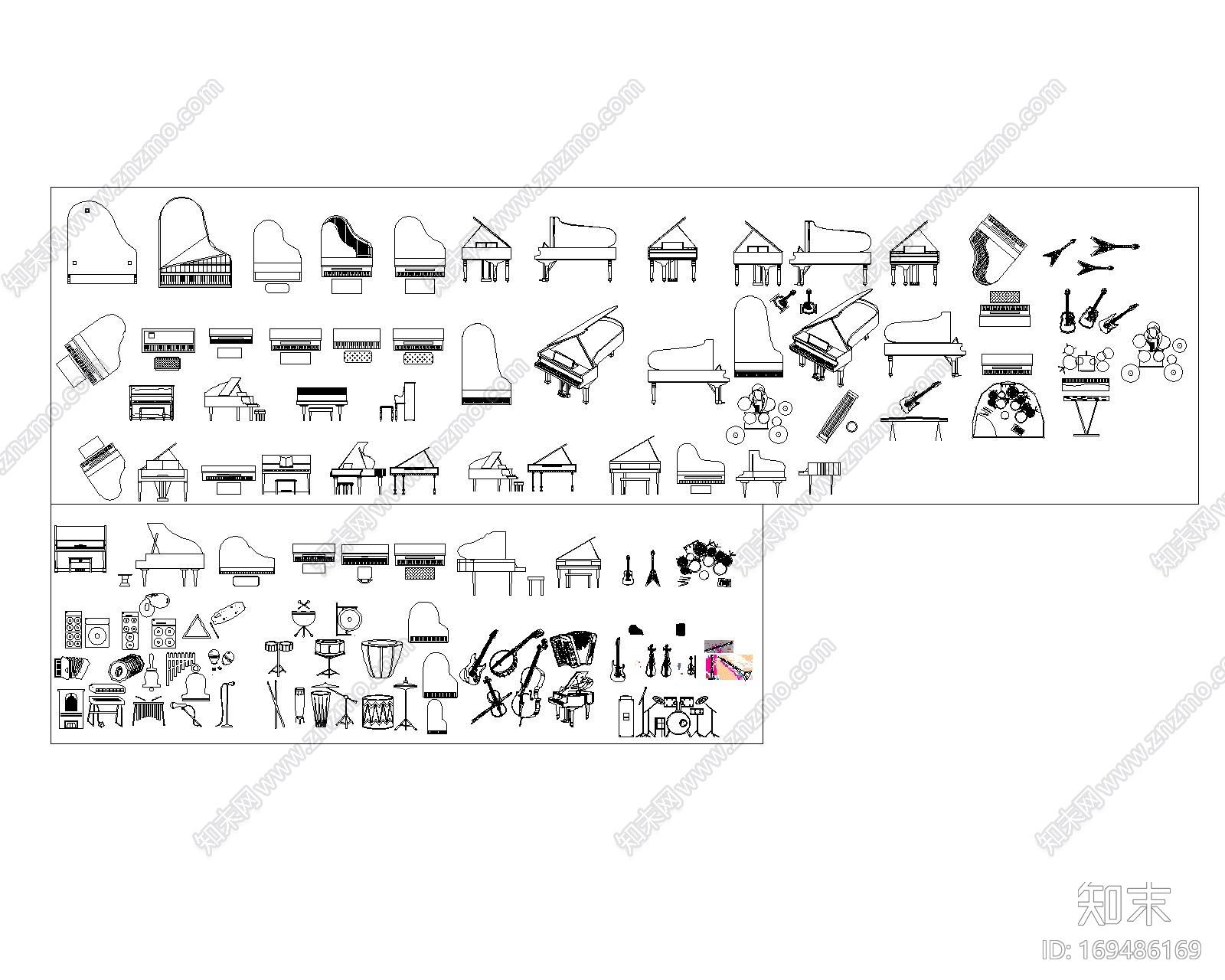 乐器CAD图块施工图下载【ID:169486169】